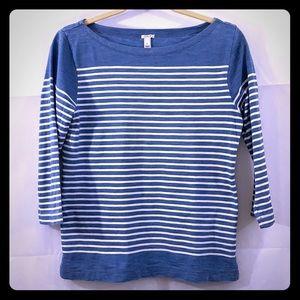 J. Crew blue white 3/4 sleeve blouse